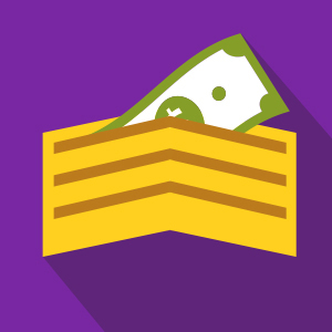 Gold Wallet, Purple Background, with money in wallet