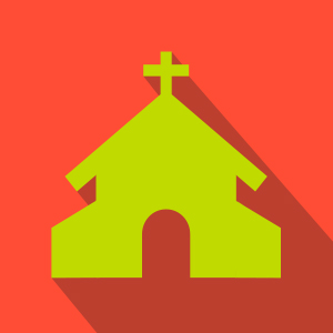 Lime yellow church over red background